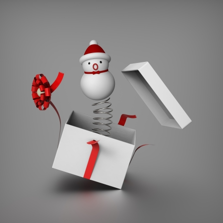jack in a box: Snowman mimics Jack in the box by springing out from a gift box to surprises everybody
