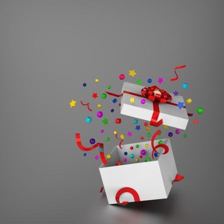 splashed: 3D model of gift box and splashed decoration