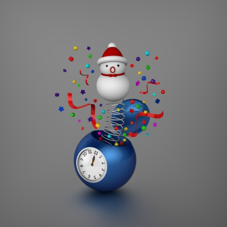 declare: 3D model of snowman and ornaments bounced out from sphere alarm clock when Christmas was coming Stock Photo