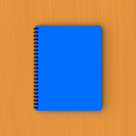 plywood: 3D model of blue paper notebook on plywood Stock Photo