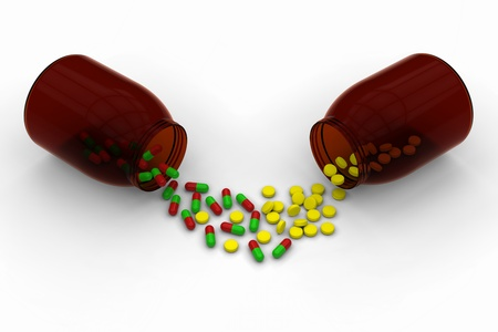 ail: 3D model of red green capsules and yellow pills are spilled from a brown transparent bottles Stock Photo