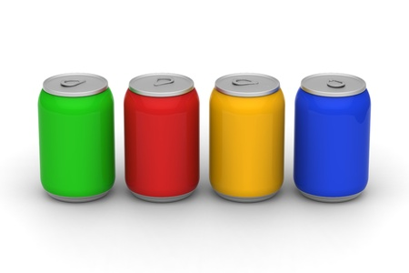canned drink: 3D model of four color soft drink cans