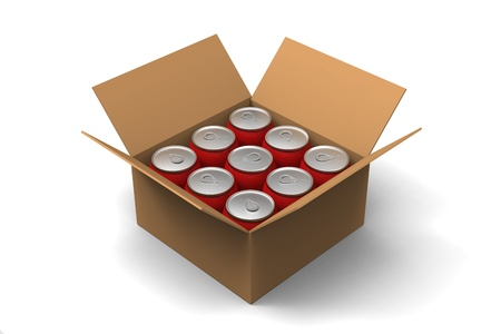 aerated: 3D model of red cans in a brown box