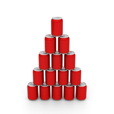 3D model of red cans set up to a tower photo
