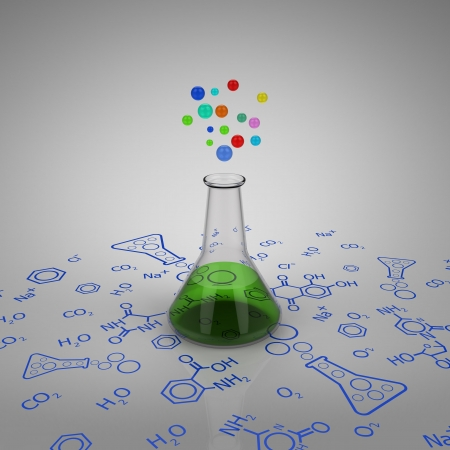 3D model of glass test tube with green liquid and bubbles on chemical diagram photo