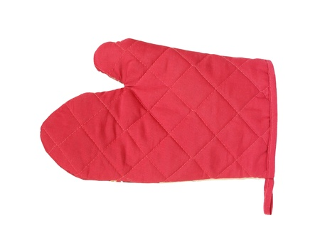 Red oven glove mitt isolated on white  photo
