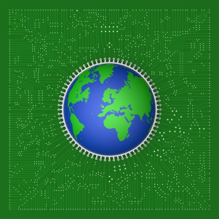 3D model of world on circuit board photo