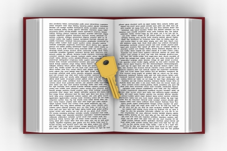 3D model of  keywords,presented by putting golden key on words book Stock Photo