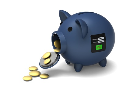3D model to presented about withdrawing and removing money from piggy bank by input personal codes,on white background Stock Photo - 19835637