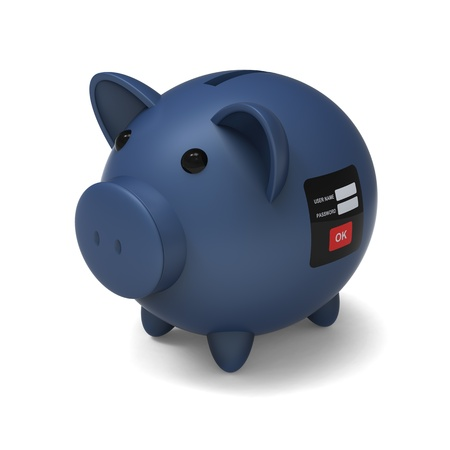 stealer: 3D model of piggy bank with security system to against a withdrawing or removing money by stranger and stealer , on white background Stock Photo