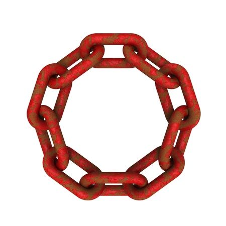 coalesce: 3D model of eroded and rusted red chains connected together isolated on white background