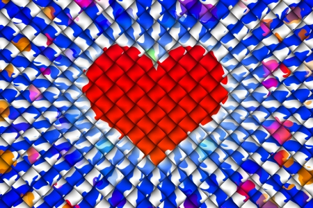 webbing: Computer graphic design of red heart shape and multicolor embed on weave textiles Stock Photo