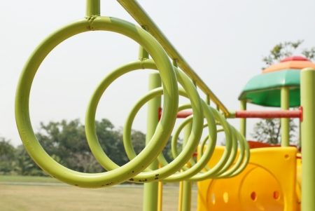 for children toys: Hung hoops in playground Stock Photo