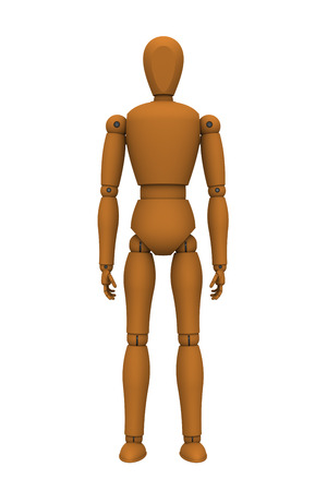 3D model of puppet robot standing isolated on white photo