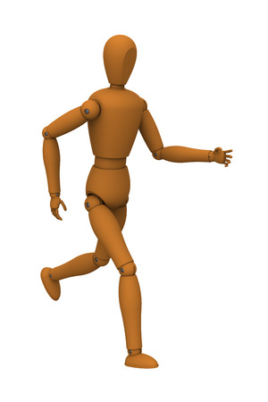 3D model of puppet robot running isolated on white Stock Photo - 23121290