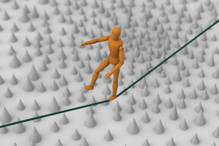 3D model of puppet robot trying to balance and walk on rope string across field of spike Stock Photo