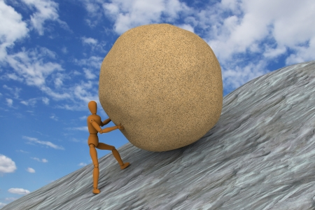 laborious: 3D model of puppet hard working by trying to push and roll a heavy stone up to sloped mountain