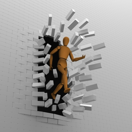 impasse: 3D model of puppet escaped and released from dark to bright by breaking bricks wall Stock Photo