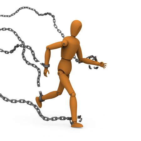 constraint: 3D model of puppet conquer chains binding by breaking and running to freedom
