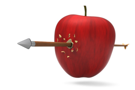 3D model of red apple was hit and perforated by arrow Stock Photo
