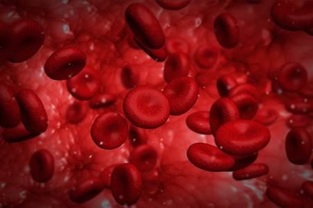 Computer generated graphic design of red blood cells flowing inside vessel photo