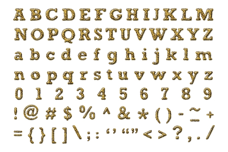 stitched: Alphabet set with cheetah texture ,rough edge ,stitched border and emboss style isolated on white Stock Photo
