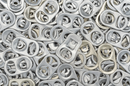 ring pull: Close-up and detail of aluminum can ring pull background