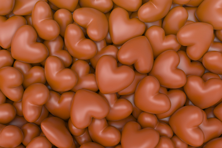 3D model chocolate hearts background