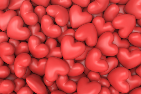 3D model red hearts background Stock Photo