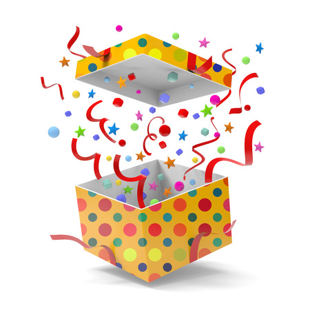 3D model of gift box splashing on white background