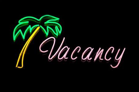 vacante: Imagen de vacaciones de un inicio de sesi�n de vacante de Neon en un hotel o motel recepci�n