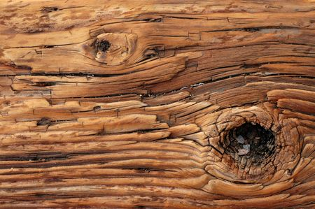 Abstract Background Texture of Weathered Wooden Beam With a Knot photo