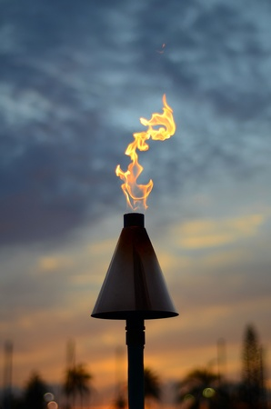 Vacation Image Of A Hawaiian Tiki Torch At Sunset Stock Photo - 9173880