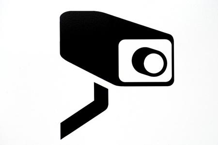 ressalto: Branco C�mara de vigil�ncia (CCTV) Warning Sign Banco de Imagens