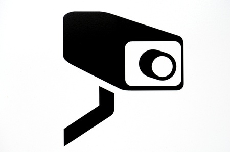 attention icon: White Surveillance Camera (CCTV) Warning Sign