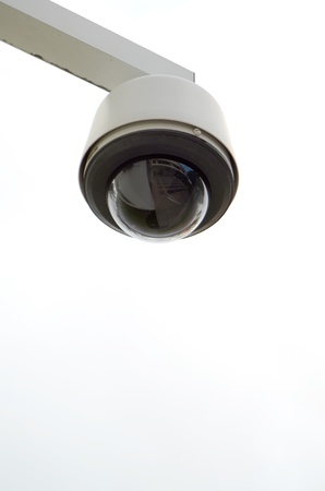 social system: A Modern Surveillance Camera With Copy Space Stock Photo