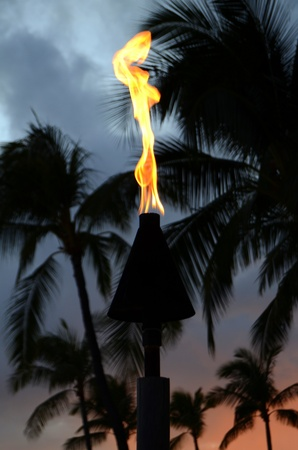 Vacation Image Of A Hawaiian Tiki Torch At Sunset photo