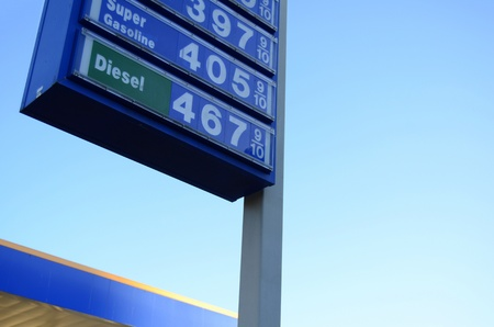 high price of oil: A Sign With Prices Outside A Gas Station With Copy Space