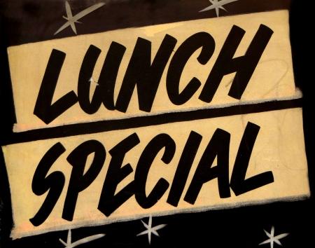 negocios comida: Una sesi�n especial de almuerzo sucio en un caf� o restaurante Foto de archivo