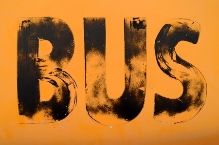 Urban Decay Image Of A Grungy Public Transport Sign For A Bus photo