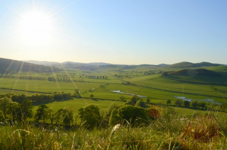 scottish: Beautiful Rural Landscape Of The Scottish Borders In The Evening Light Stock Photo