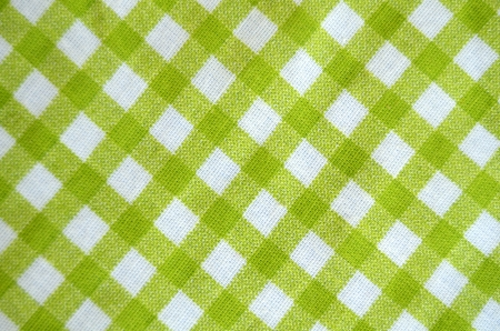 Green And White Gingham Tablecloth Material Stock Photo