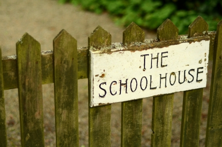 Education Image Of Rustic Sign On School House Gate Stock Photo