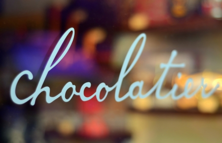 Food And Retail Image Of A Chocolatier s Window With Shallow Depth Of Field photo