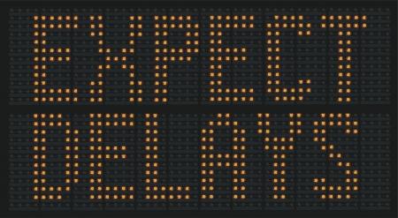 Raster Illustration Of Urban Traffic Congestion Sign Saying Expect Delays Stockfoto