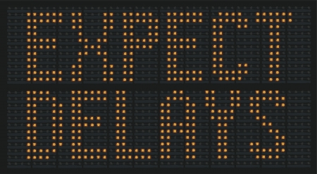 Raster Illustration Of Urban Traffic Congestion Sign Saying Expect Delays Stock Photo
