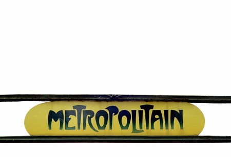 Grungy Paris Metro Sign Against A White Sky With Copy Space
