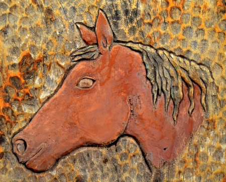 Rustic Vintage Wood Carving Portrait Of A Horse