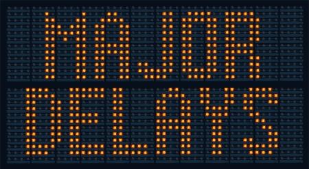 delays: Urban traffic congestion sign saying Major Delays