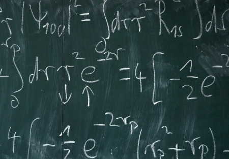 calculus: Background Education Image Of Mathematical Equations On A Blackboard